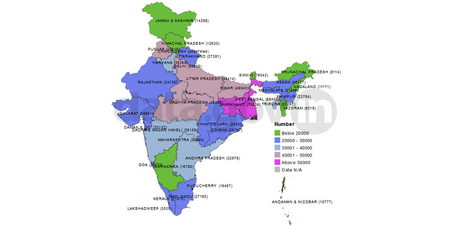 Banner of Classification of States/UTs as per average rural population covered by PHC as on 31st March 2014