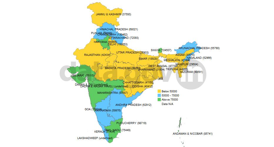 India States Map 2016.Per Capita Income 2010 11 Open Government Data Platform India Blog
