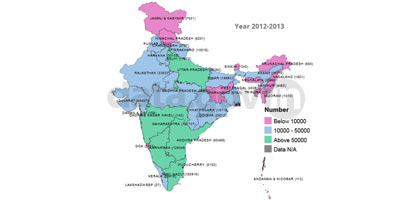 State-wise number of teachers for all education institutions – 2012