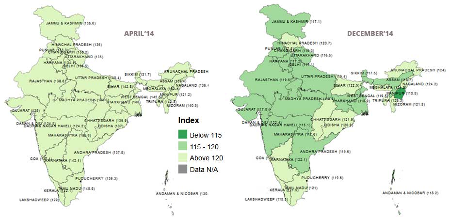Banner of State Level Consumer Price Index (CPI) during April 2014 to December 2014