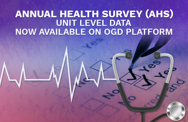 Banner of Annual Health Survey (AHS) unit level data now available on OGD Platform