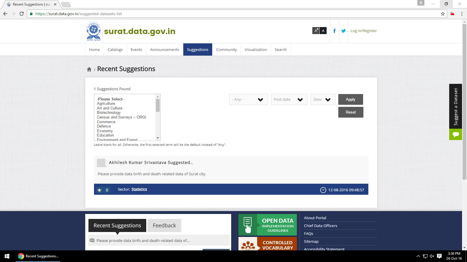Surat Data Portal Suggestions Page