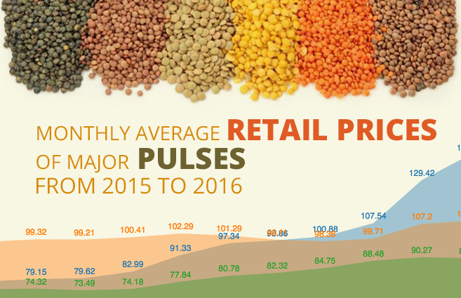 Banner of Monthly Average Retail Prices of Major Pulses from 2015 to 2016