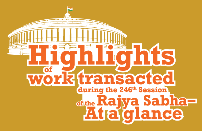 Banner of Highlights of work transacted during the 246 th Session of the Rajya Sabha – At a glance