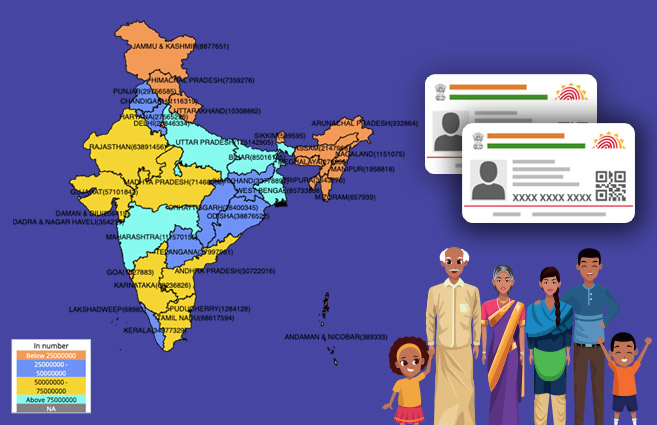 Banner of State/UT-wise Number of Aadhaar generated in India as on 28.2.2017