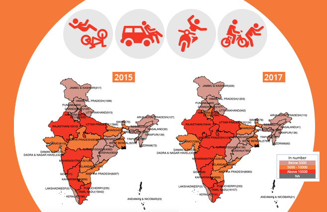 Banner of Persons killed in Road Accidents in India from 2015 to 2017
