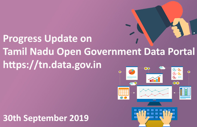 Banner of Progress Update of Tamil Nadu's Open Government Data Portal as on 30-09-2019