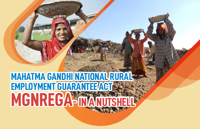 Banner of Mahatma Gandhi National Rural Employment Guarantee Act (MGNREGA) – In a Nutshell