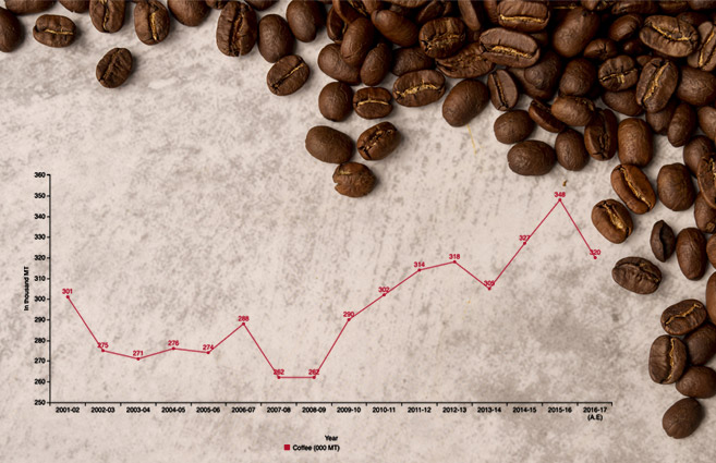 Banner of Coffee Production in India from 2001-02 to 2016-17