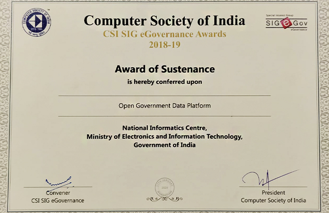 Banner of Open Government Data (OGD) Platform Conferred Upon Award of Sustenance by  CSI SIG eGovernance Awards 2019-20
