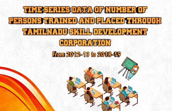 Banner of Time series data – Number of Persons trained and placed through Tamil Nadu Skill Development Corporation (TNSDC) during the period from 2012-13 to 2018-19