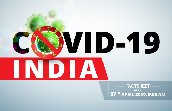 Banner of COVID-19 India Factsheet As on 7th April 2020, 9 AM