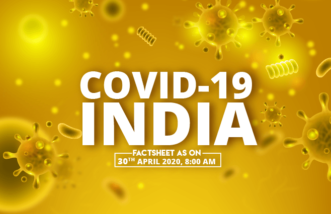 Banner of COVID-19 India Factsheet As on 30th April 2020, 8:00 AM