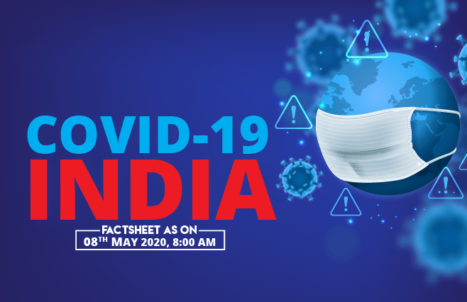 Banner of COVID-19 India Factsheet As on 08th May 2020, 8:00 AM