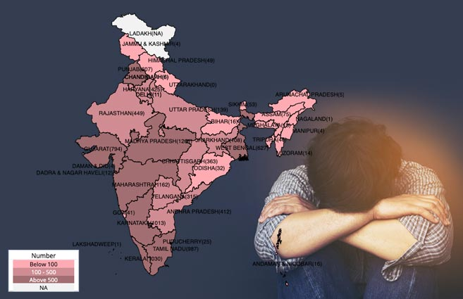 Banner of State/UT-wise Suicides in India due to Insanity/Mental Illness during 2018