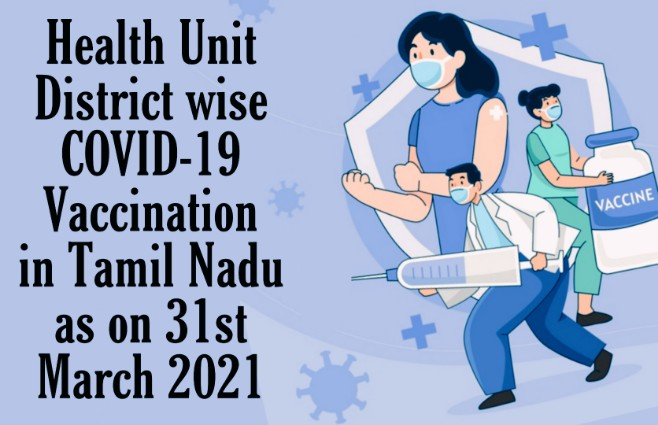 Banner of COVID 19 vaccination, Health Unit Districts wise in Tamil Nadu as on 31st March 2021