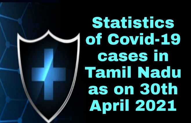 Banner of Statistics of COVID 19 Cases in Tamil Nadu as on 30th April 2021
