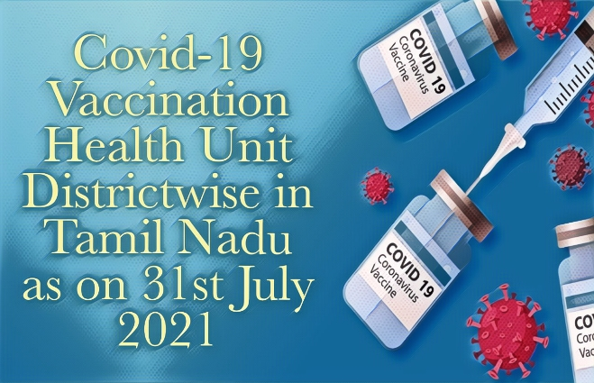 Banner of COVID 19 vaccination, Health Unit Districts wise in Tamil Nadu as on 31st July 2021