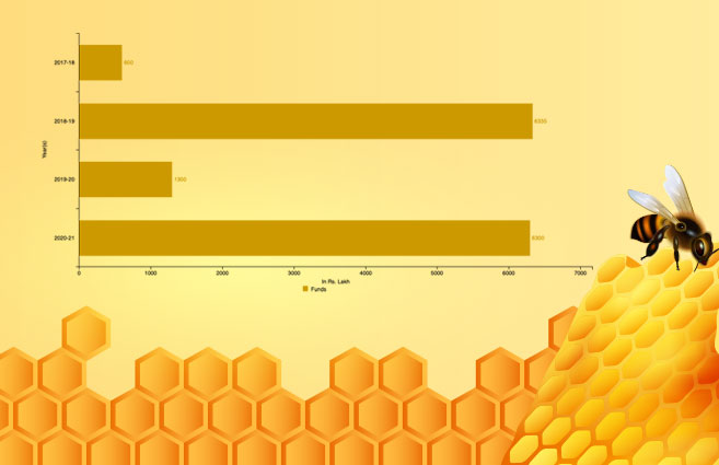 Banner of Funds Earmarked for Honey Mission Program in India from 2017-18 to 2020-21